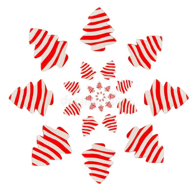 Árvore de Natal da argila vermelha e branca foto de stock