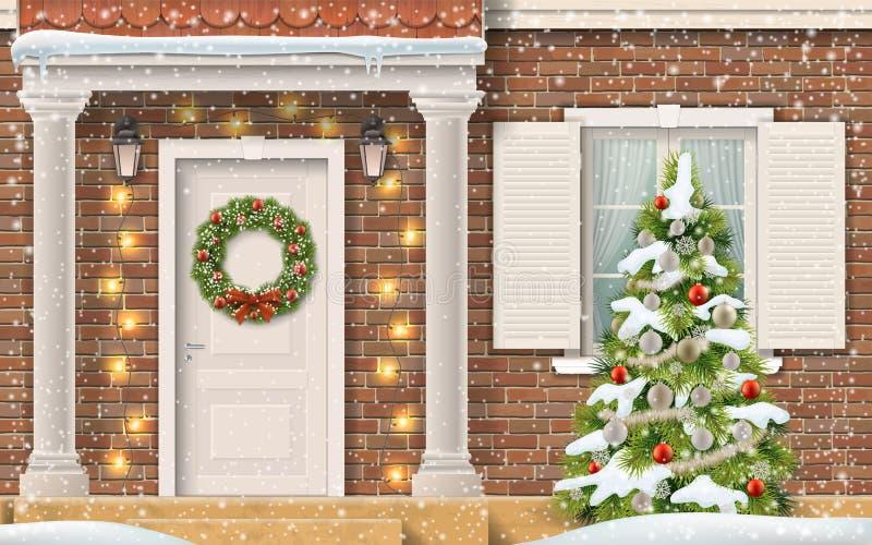 Árvore de Natal da casa da entrada ilustração stock