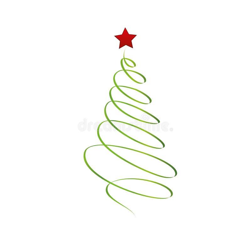Árvore de Natal da fita verde com estrela vermelha Vetor Cartão pelo ano novo do feriado Espaço vazio para o texto ou a propagand ilustração royalty free