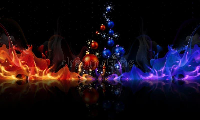 Árvore de Natal das bolas no fogo vermelho-azul ilustração do vetor