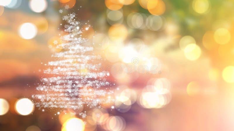 A árvore de Natal das estrelas no bokeh ilumina o fundo ilustração do vetor