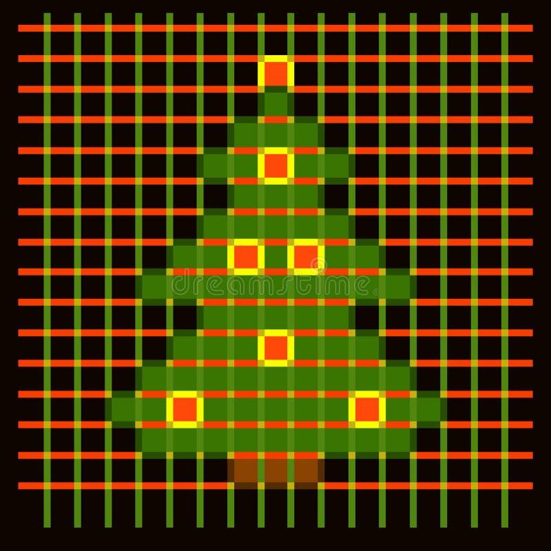 Árvore de Natal das pilhas em um fundo escuro quadriculado ilustração stock