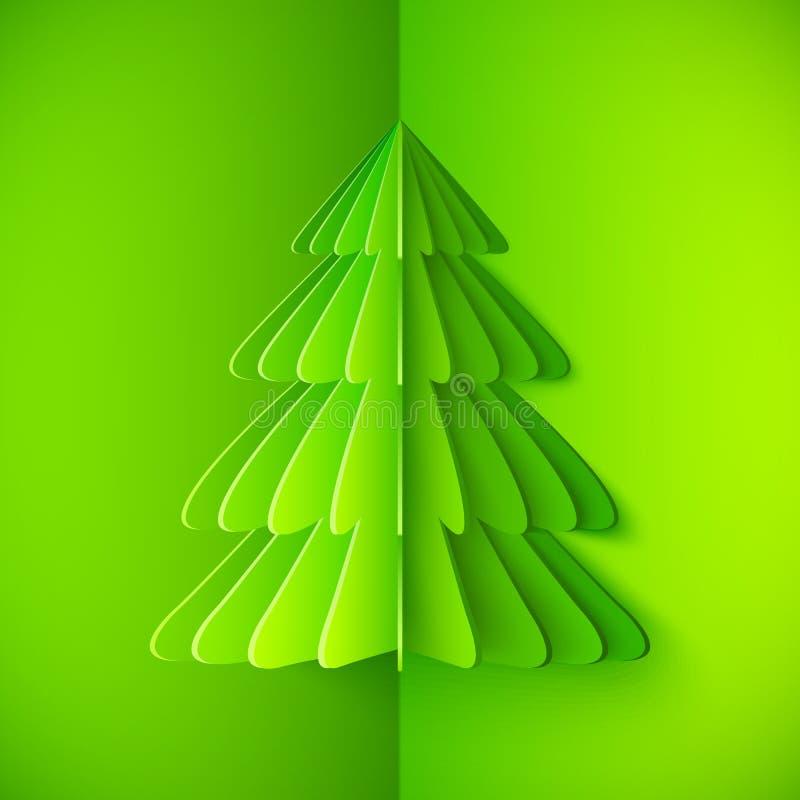 Árvore de Natal de papel do vetor do origâmi verde ilustração stock