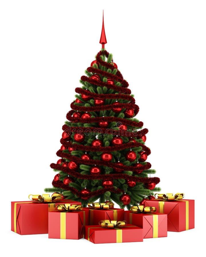 Árvore de Natal decorada com as caixas de presente isoladas no branco ilustração royalty free