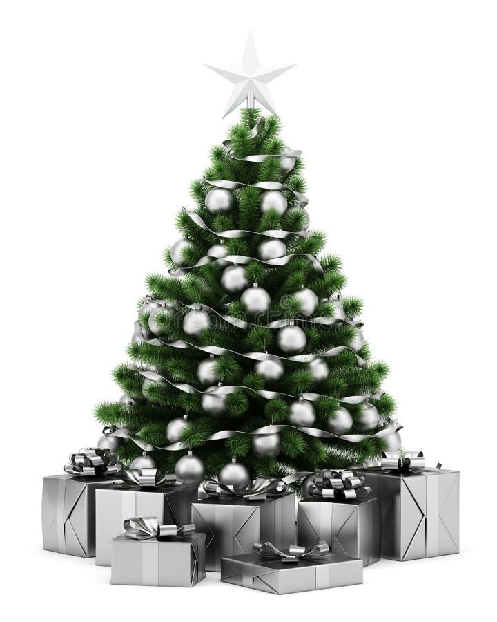 Árvore de Natal decorada com as caixas de presente isoladas no branco ilustração do vetor