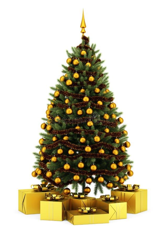 Árvore de Natal decorada com as caixas de presente no branco ilustração stock