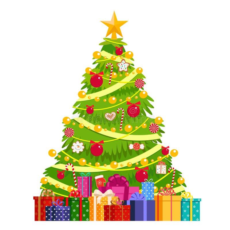 Árvore de Natal decorada com bolas, pão-de-espécie, festões Sob a árvore de Natal é uma montanha dos presentes Isolado, obje do v ilustração stock