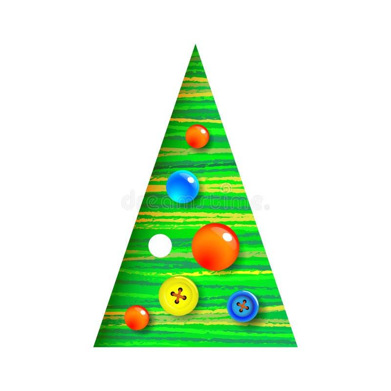 Árvore de Natal decorada com botão da costura, projeto moderno, interessante Pode ser usado para materiais impressos, cartazes, n ilustração do vetor