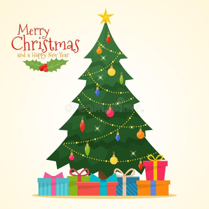 Árvore de Natal decorada com caixas de presente ilustração do vetor