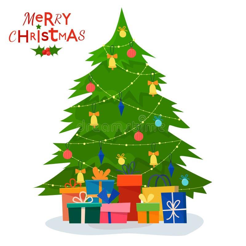 Árvore de Natal decorada com caixas de presente ilustração royalty free