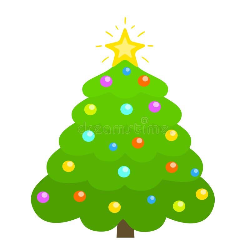 Árvore de Natal decorada com estrela, bolas da decoração, isoladas no fundo branco no estilo liso ilustração do vetor