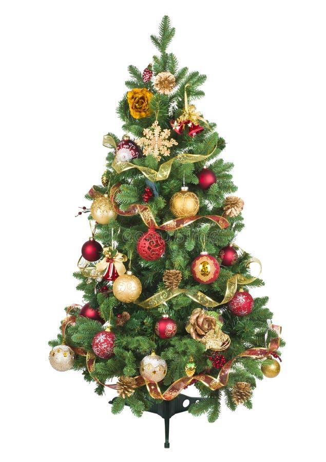 Árvore de Natal decorada com os ornamento coloridos isolados no fundo branco fotografia de stock royalty free
