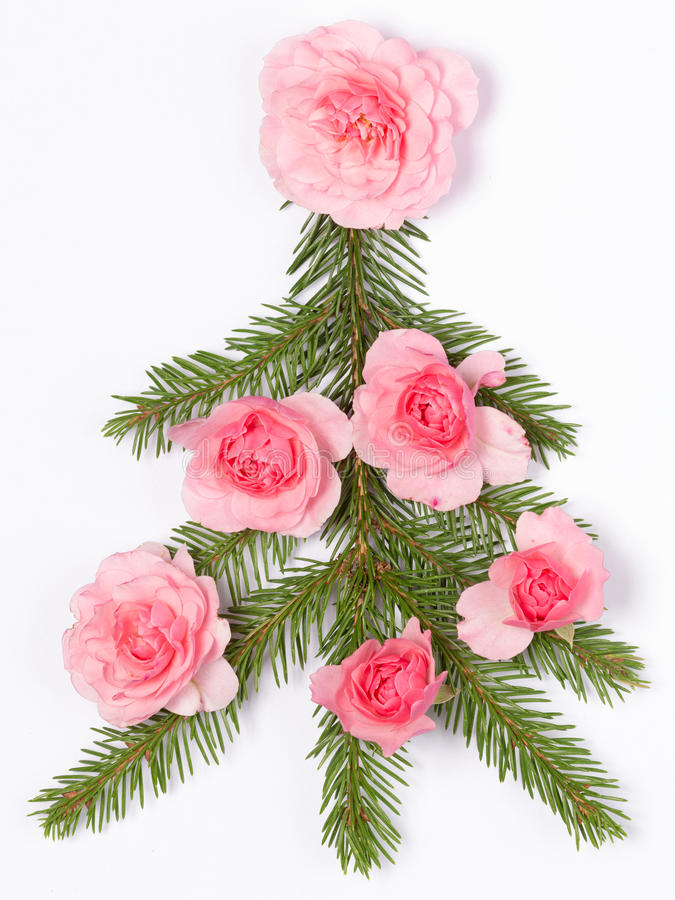 Árvore de Natal decorada com rosas fotografia de stock royalty free