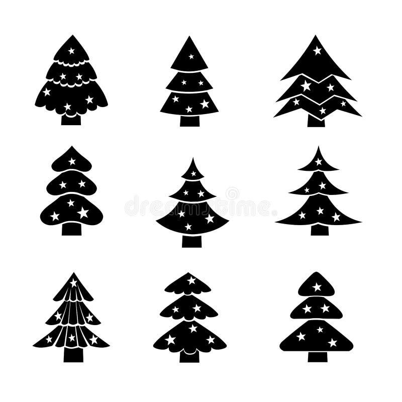 Árvore de Natal decorada, ilustração preta da silhueta ilustração royalty free