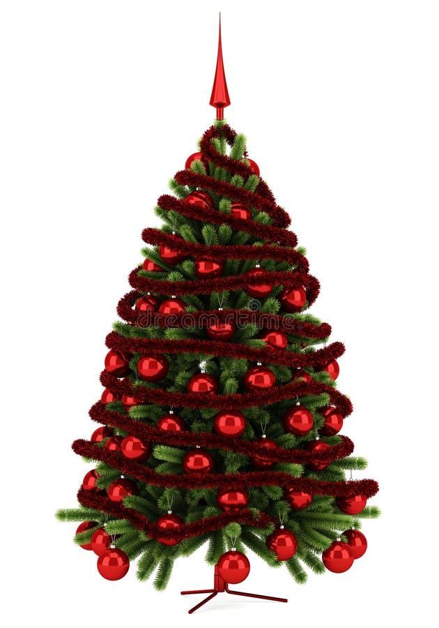 Árvore de Natal decorada isolada no branco ilustração royalty free
