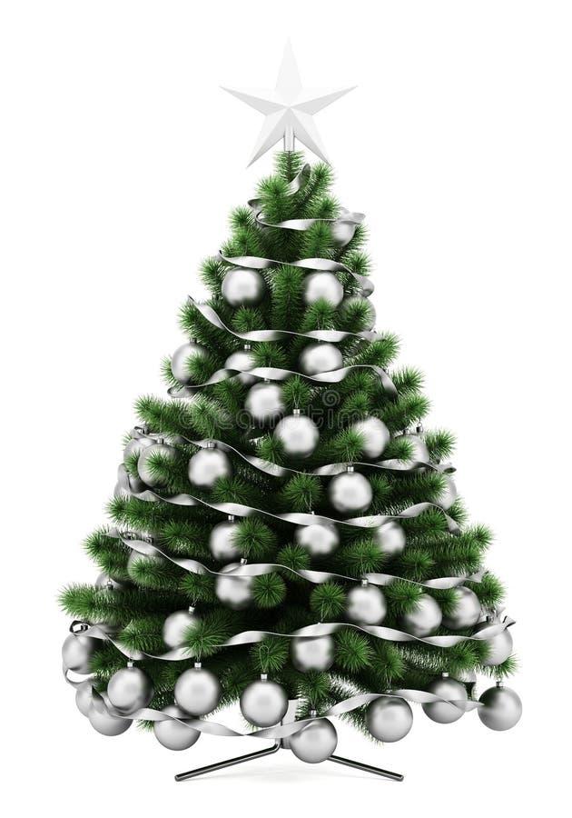 Árvore de Natal decorada isolada no branco ilustração stock