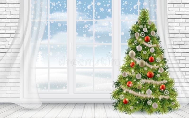 Árvore de Natal decorada no interior da luz ilustração royalty free