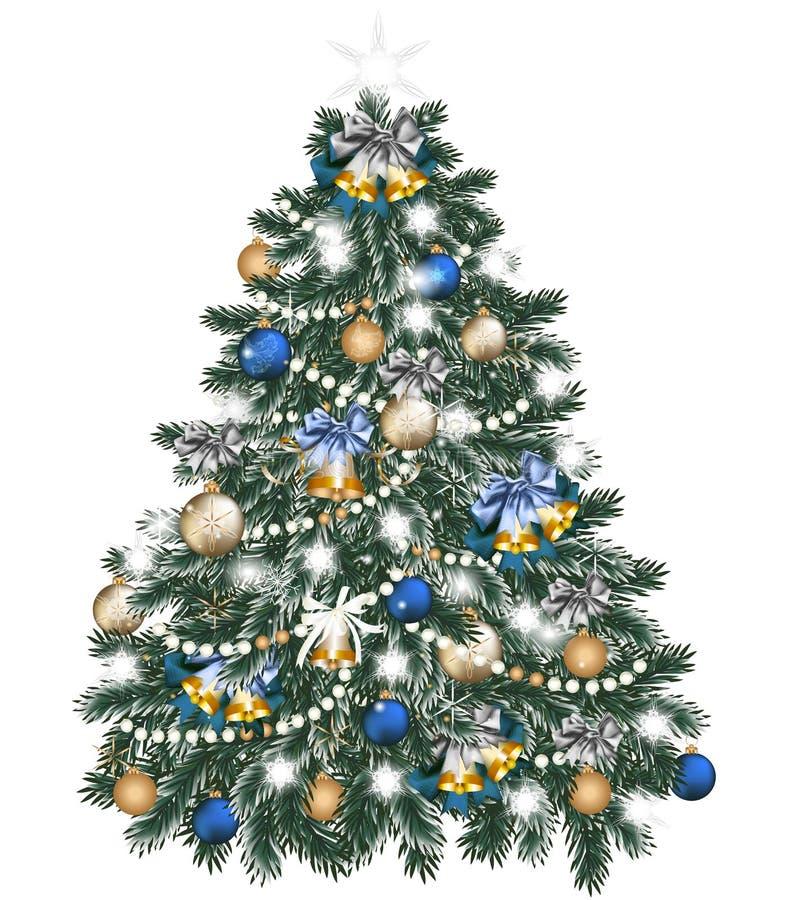 Árvore de Natal decorada por bolas no branco ilustração stock