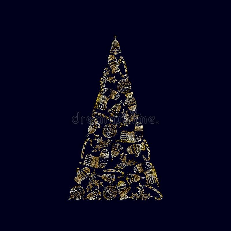 Árvore de Natal decorativa do vetor dos símbolos dourados do Natal no fundo escuro - bastão de doces, bola da árvore, mitene, peú ilustração royalty free