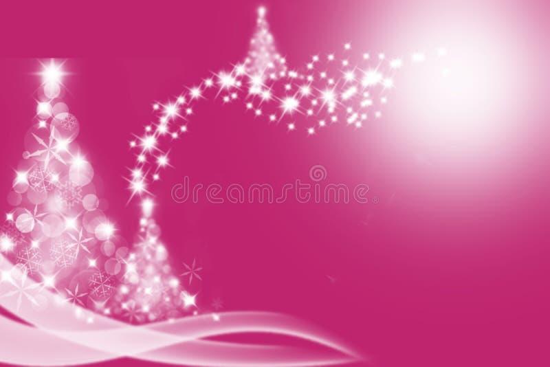 A árvore de Natal deu forma do lensflare e do bokeh sobre ilustração stock