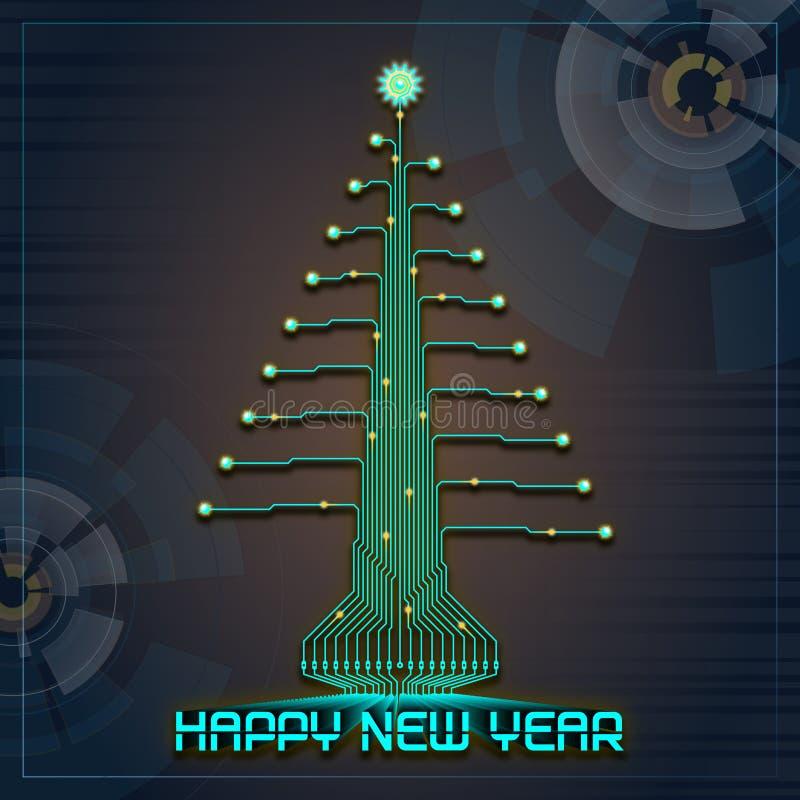 Árvore de Natal do ano novo feliz de Techno ilustração royalty free