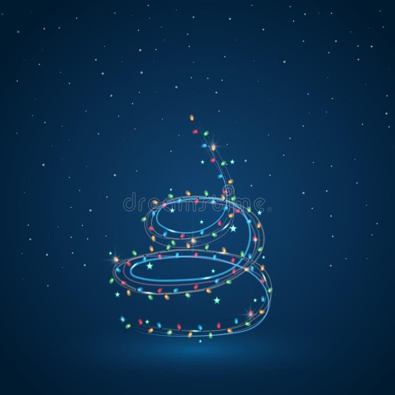 Árvore de Natal do ano novo do vetor 2019 das luzes foto de stock