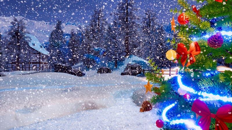 Árvore de Natal do ar livre no fim da noite do inverno acima imagem de stock