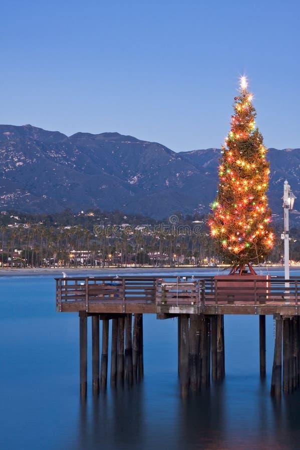Árvore de Natal do cais fotografia de stock royalty free