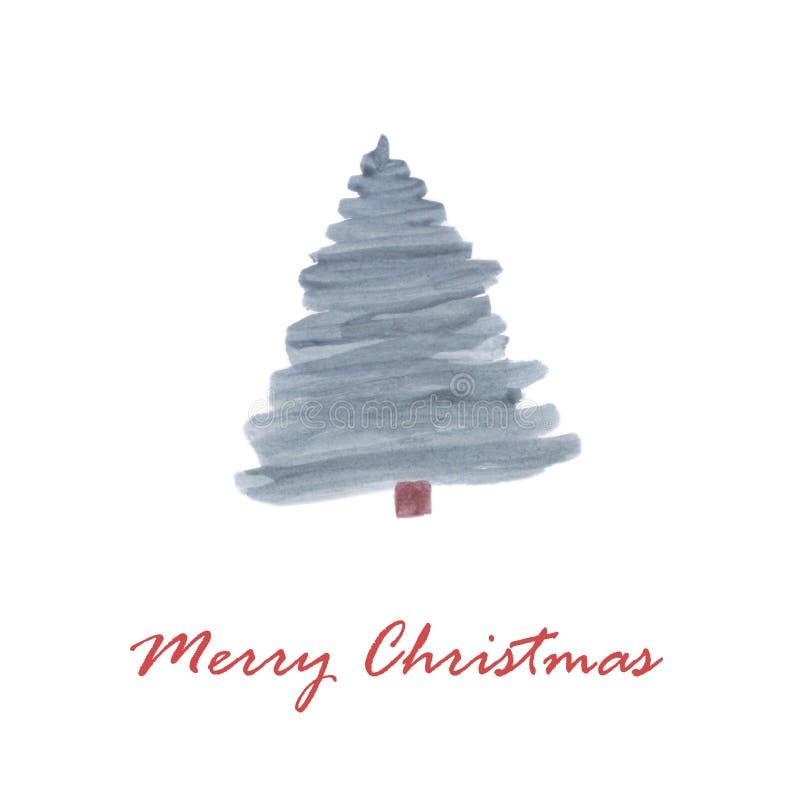 Árvore de Natal do cartão do Feliz Natal ilustração do vetor