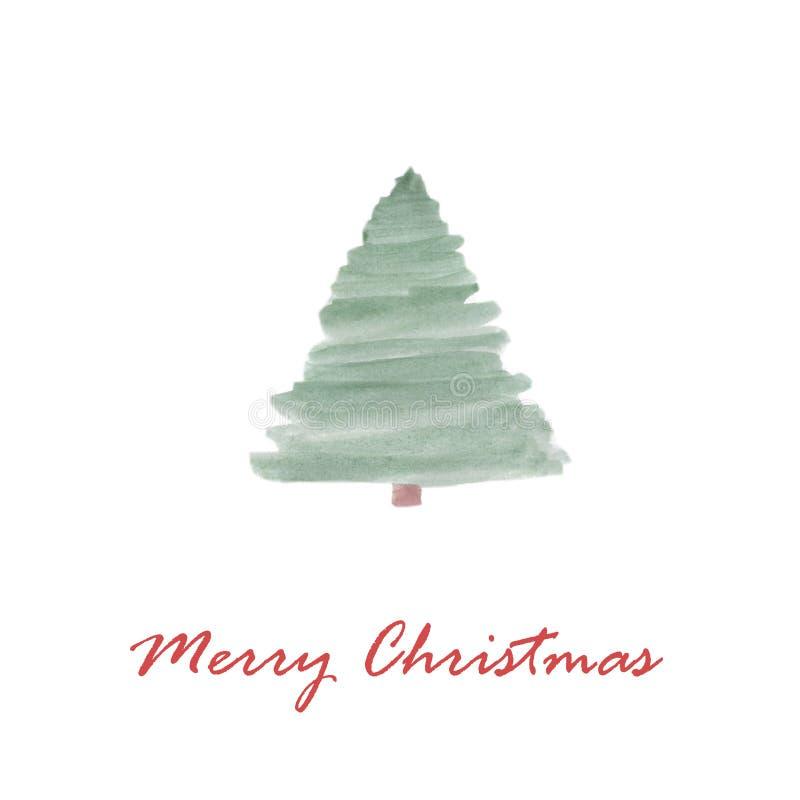 Árvore de Natal do cartão do Feliz Natal ilustração stock