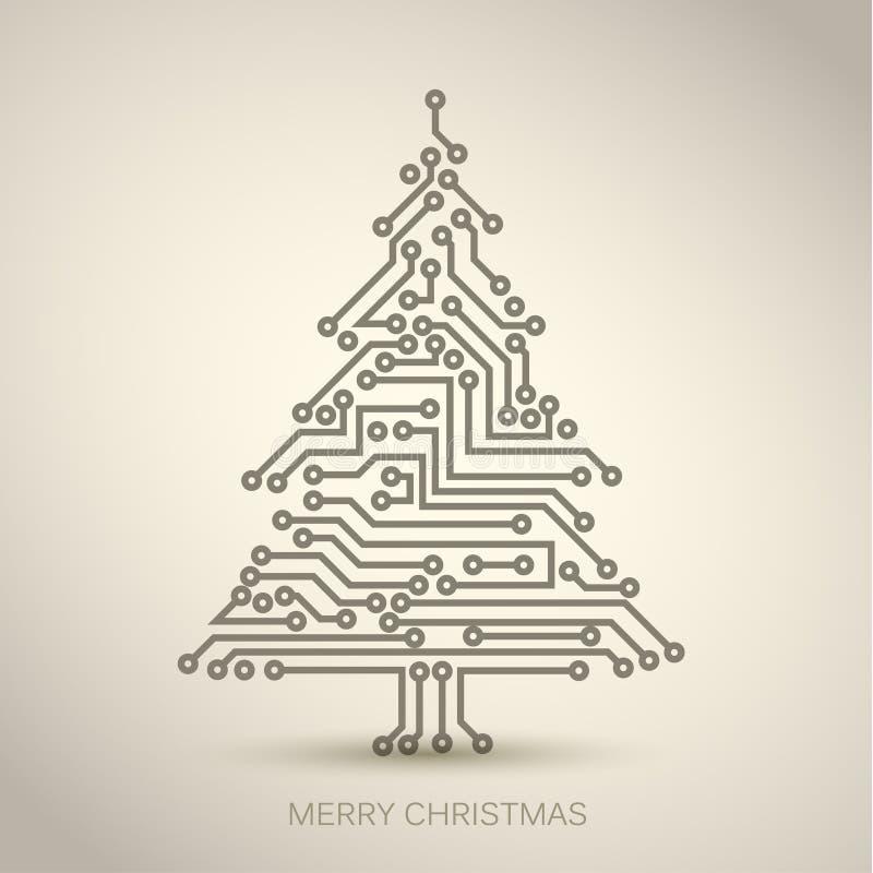 árvore de Natal do circuito digital ilustração royalty free