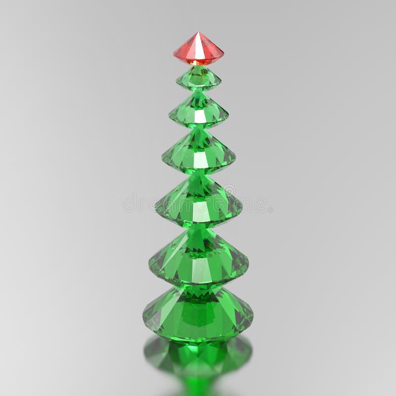 árvore de Natal do diamante do verde da ilustração 3D com uma estrela vermelha ilustração stock