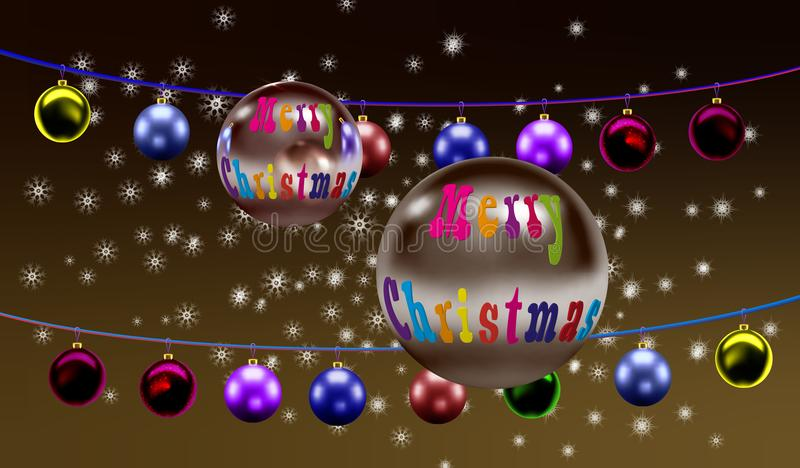 Árvore de Natal do Feliz Natal, na perspectiva dos flocos de neve de queda em uma luz - cor marrom ilustração royalty free