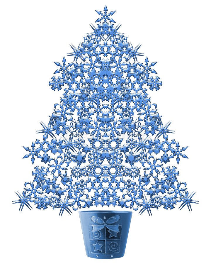Árvore de Natal do floco da neve ilustração stock