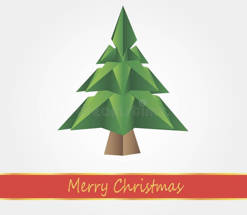 Árvore de Natal do origâmi ilustração do vetor