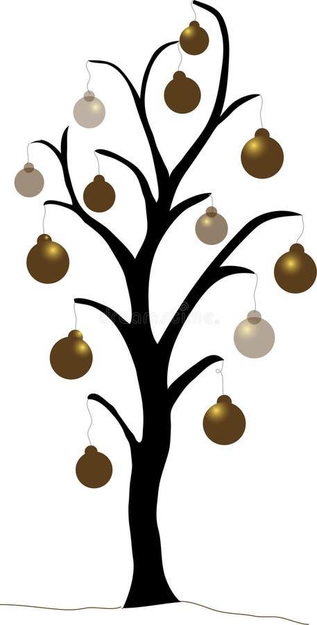 Árvore de Natal do ouro ilustração stock