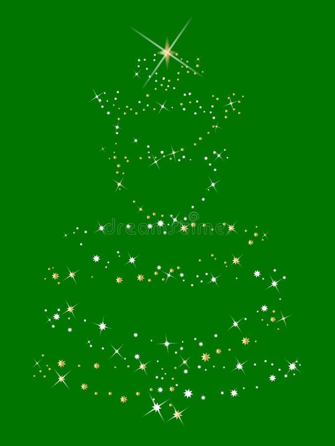 Árvore de Natal do ouro e da prata ilustração stock