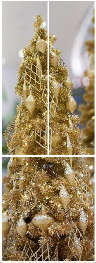 Árvore de Natal do ouro na coleção cortada do quadro foto de stock royalty free