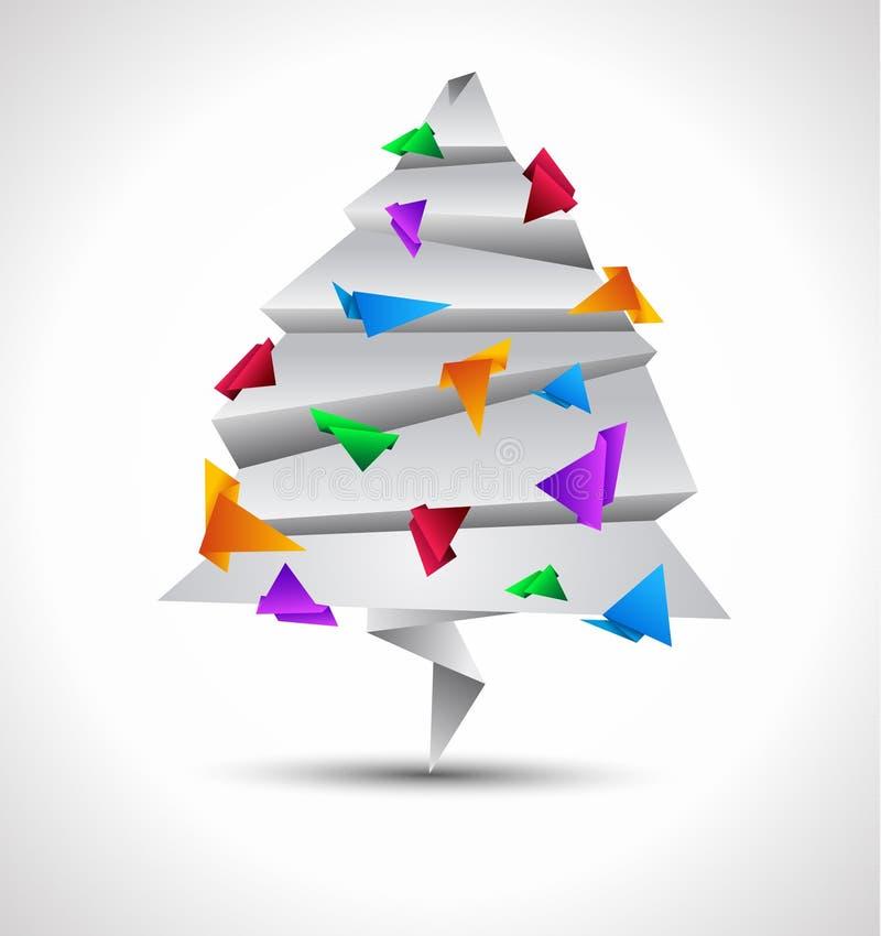 Árvore de Natal do papel do estilo de Origami ilustração stock