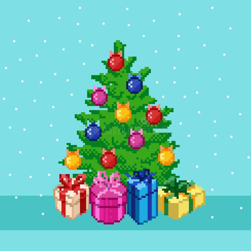 Árvore de Natal do pixel ilustração royalty free