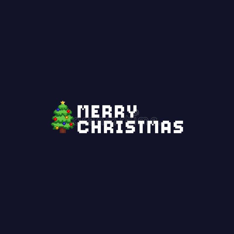 Árvore de Natal do pixel com texto alegre dos chritmas bandeira 8bit ilustração stock
