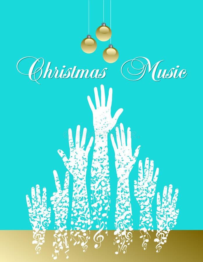Árvore de Natal do tema musical feita de notas musicais ilustração do vetor