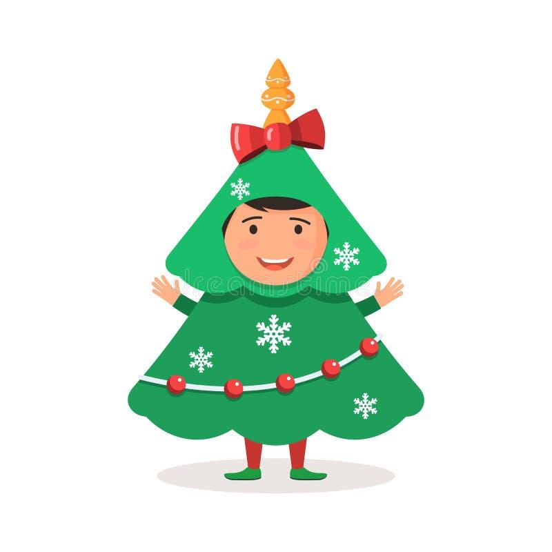 Árvore de Natal do traje da criança ilustração royalty free