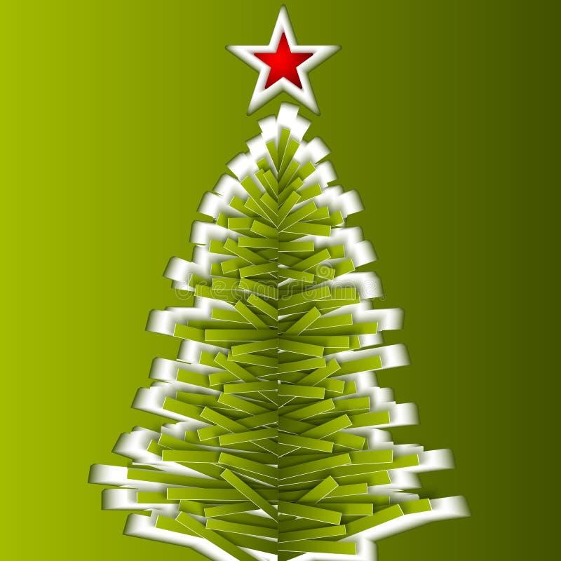 Árvore de Natal do vetor do papel verde ilustração stock