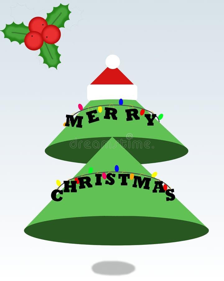 Árvore de Natal dos desenhos animados com o chapéu do ` s de Santa fotografia de stock royalty free