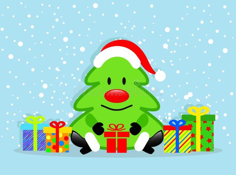 Árvore de Natal dos desenhos animados e caixas de presente coloridas no CCB azul da neve ilustração royalty free
