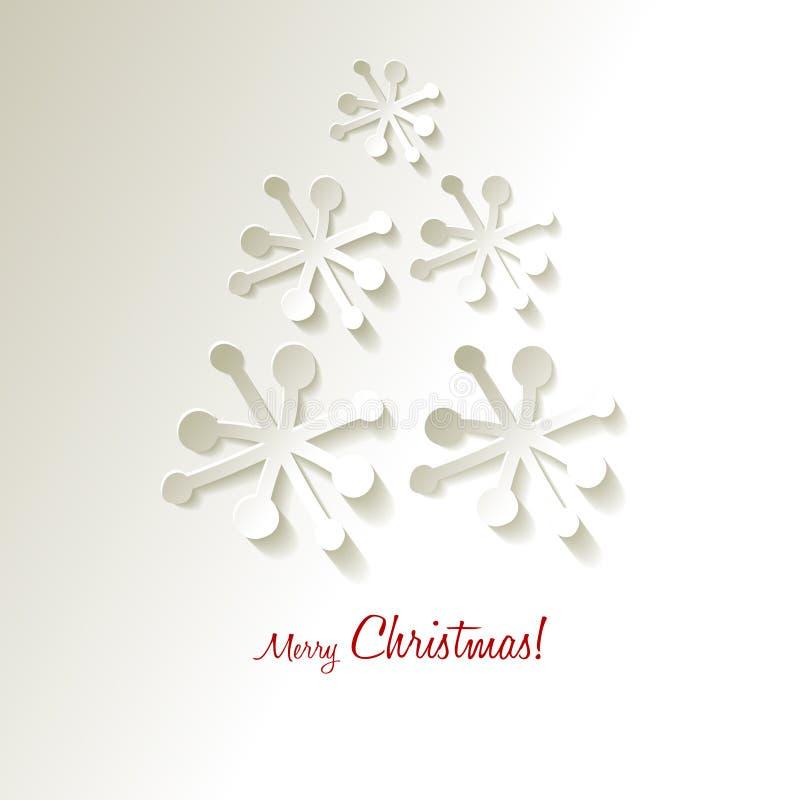 Árvore de Natal dos flocos de neve do papel do vetor do cartão do Natal em um fundo cinzento branco ilustração royalty free