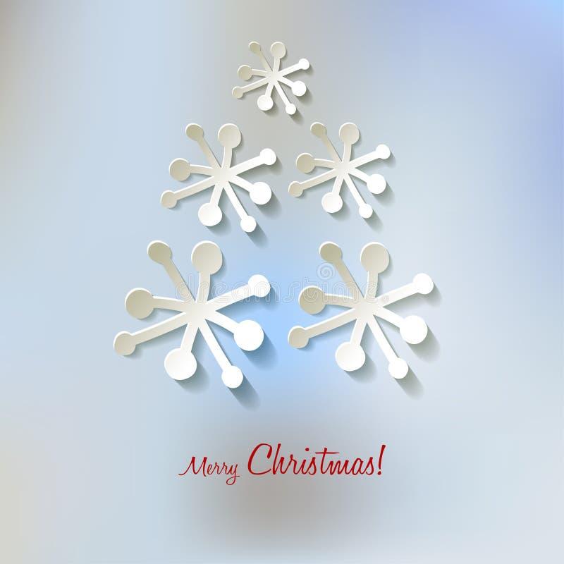 Árvore de Natal dos flocos de neve do papel do vetor do cartão do Natal em um fundo da névoa do bokeh dos azuis bebê ilustração do vetor