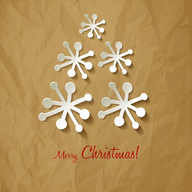 Árvore de Natal dos flocos de neve do papel do vetor do cartão do Natal em um fundo marrom de papel amarrotado ilustração royalty free
