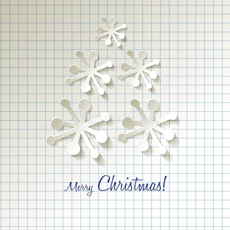 Árvore de Natal dos flocos de neve do papel do vetor do cartão do Natal em um fundo de papel quadriculado ilustração stock